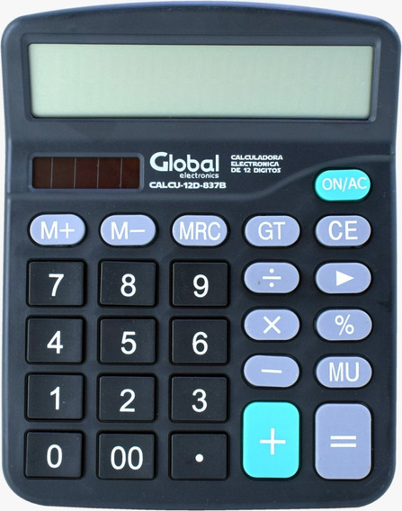 Calculadora De Escritorio De 12 Dígitos Plastica Negra 837b