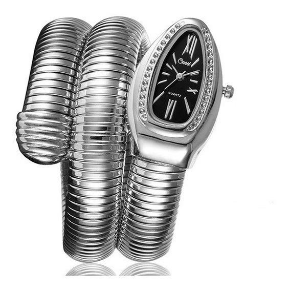 Relógio Pulso Feminino Serpente Cobra Preto Cussi Promoção