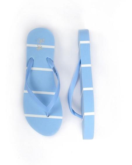 Sandalia Arra Beach Para Mujer Azul Con Detalles En Blanco