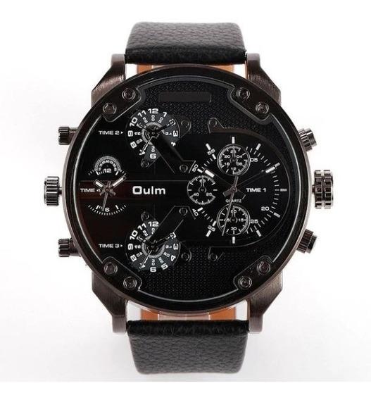 Big Relógio Masculino Pulseira De Couro Oulm Hp3548