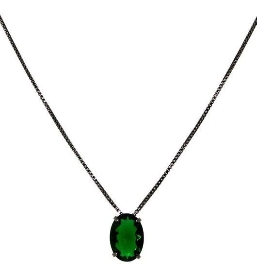 Colar Masculino Pedra Oval Verde Esmeralda Translúcida