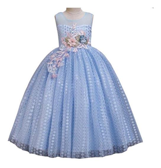Vestido De Festa Infantil Azul Para Aniversário E Formatura