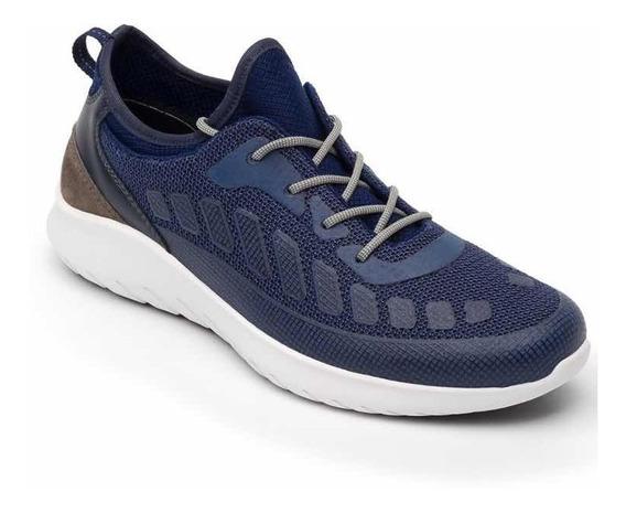 Sneaker Tenis Flexi Hombre Tela Azul Training Ligero Cómodo