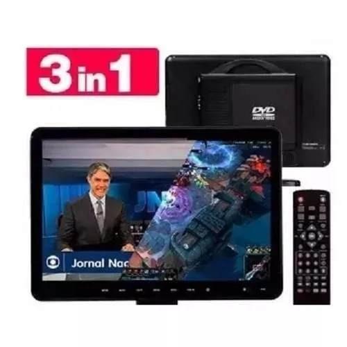 Tela 15 Polegadas Usb Hdmi Portátil Monitor 3 Em 1 Tv Dvd