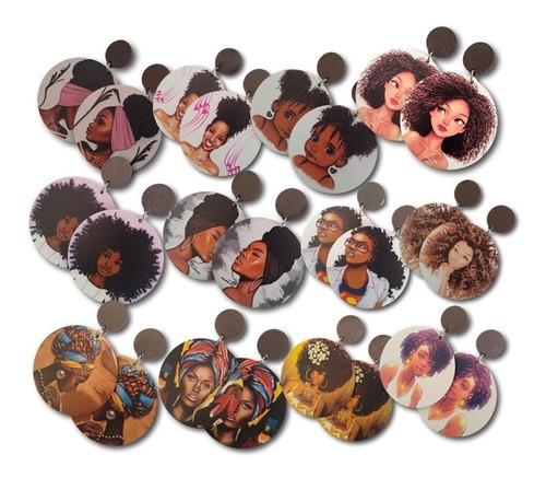 12 Brincos De Mdf Impresso Modelo Afro Ref. 0558