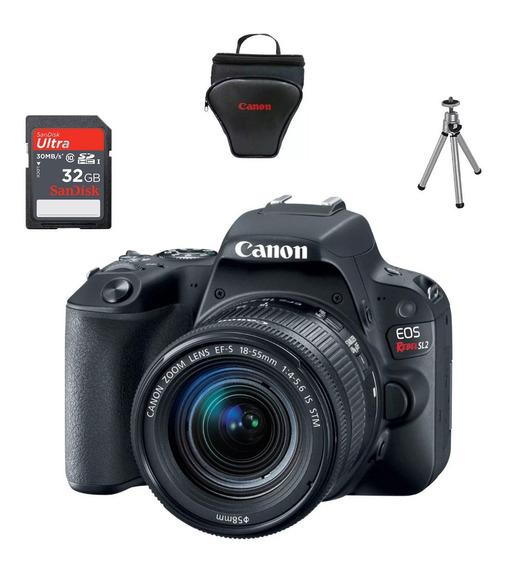 Câmera Canon Eos Sl2 24.2mp + Ef-s18-55stm +32gb+bolsa+tripe