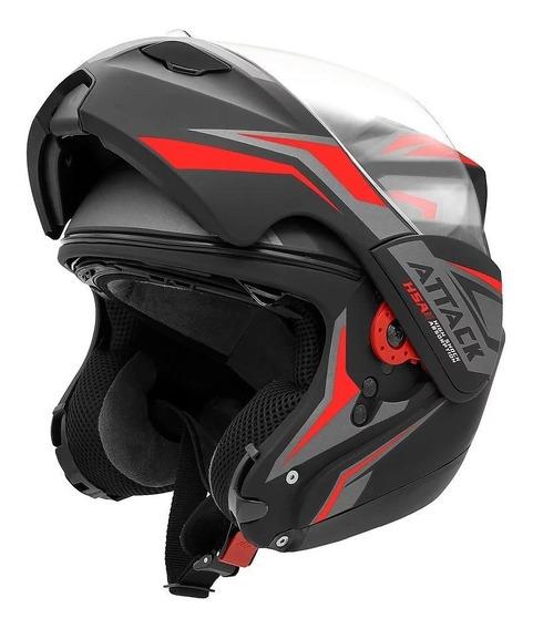 Capacete para moto escamoteável Pro Tork New Attack preto/vermelho tamanho 58