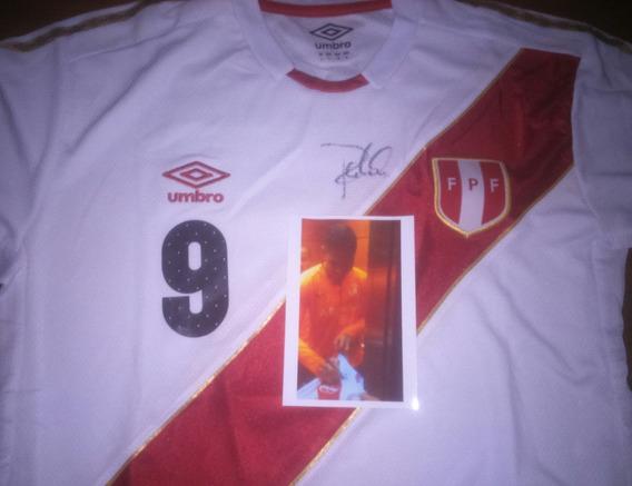 Autografiada! Camiseta Seleccion Peru Umbro 9 Paolo Guerrero