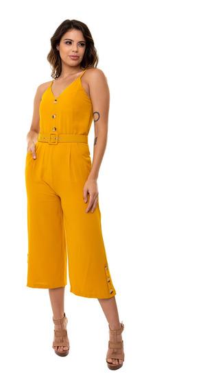 Macacão Kinara Pantacourt Crepe Liso Com Bolso Amarelo