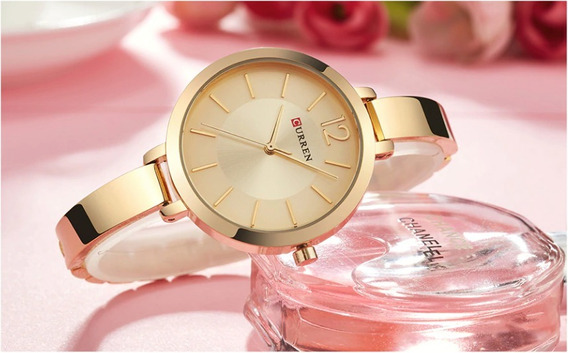 Relógio Feminino Curren 9012 Luxo Resistente A Água - Gold