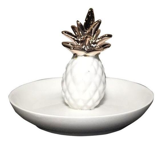 Porta-anel Em Cerâmica Abacaxi Branco E Cobre 8x10cm D
