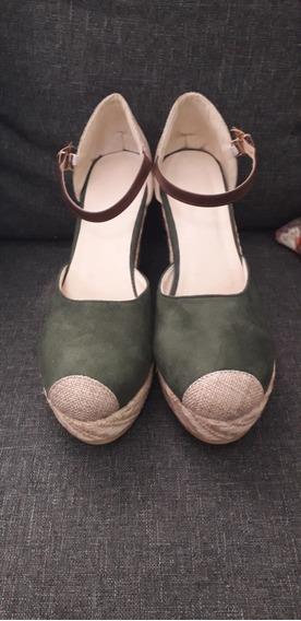 Zapato Para Dama Sintetico, Importado Verde Talla 6