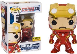 Funko Pop Iron Man Unmasked #136 Marvel Civil War Exclusivo