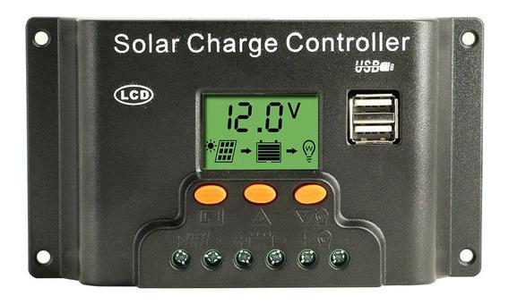 Controlador Carga 30a Paineis Solares Regulador Lcd/usb/luz