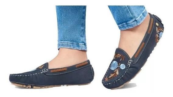 Calzado Zapato Flat Dama Mujer Comodos Piel Genuina Bordado