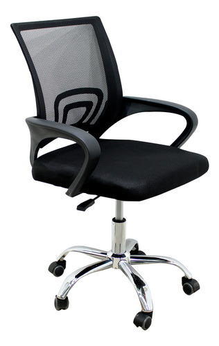 Cadeira Escritório Tela Mesh Base Giratória Preto