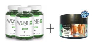 Womax Capsulas 3 Potes + Brinde 1 Pote Gel Lipo Redutor