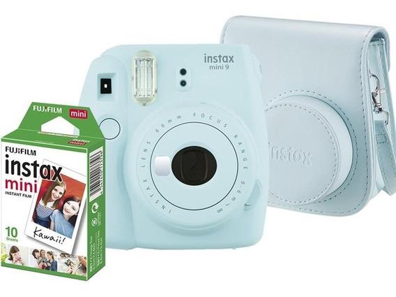 Kit Câmera Instax Mini 9 Azul Aqua + Filme + Estojo Couro