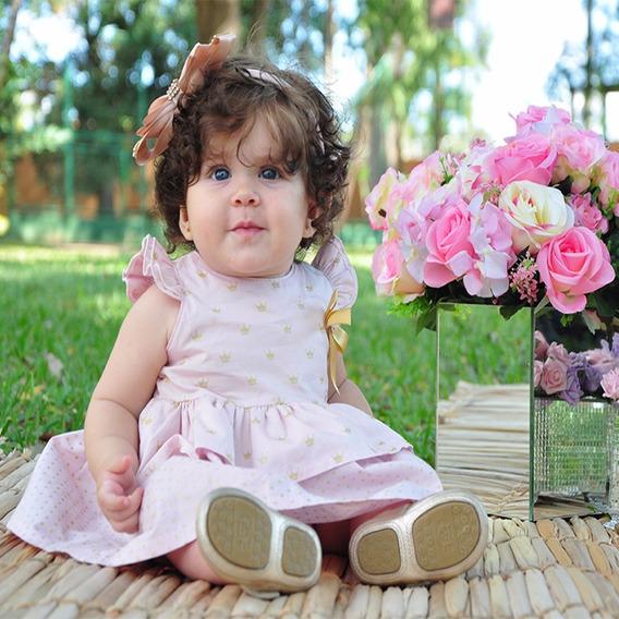 Vestido Bebê Festa Em Tricoline Coroa Rosa Tamanho P Ao G