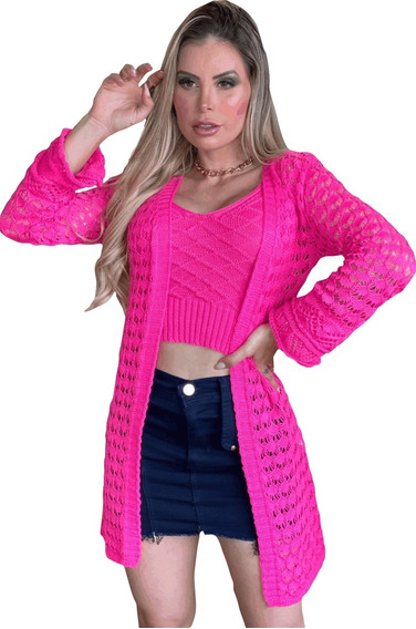 Cardigan + Top, Tricot Rendado Lindo, Verão Moda Feminina