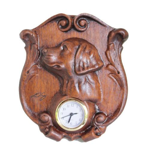 Relógio Cachorro, Madeira, Esculpido, Para Mesa,decoração