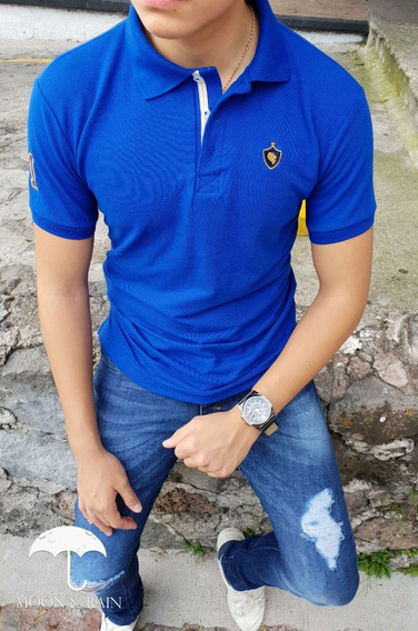 Polo Slim Fit Azul Escudo Lion 1# Moon & Rain