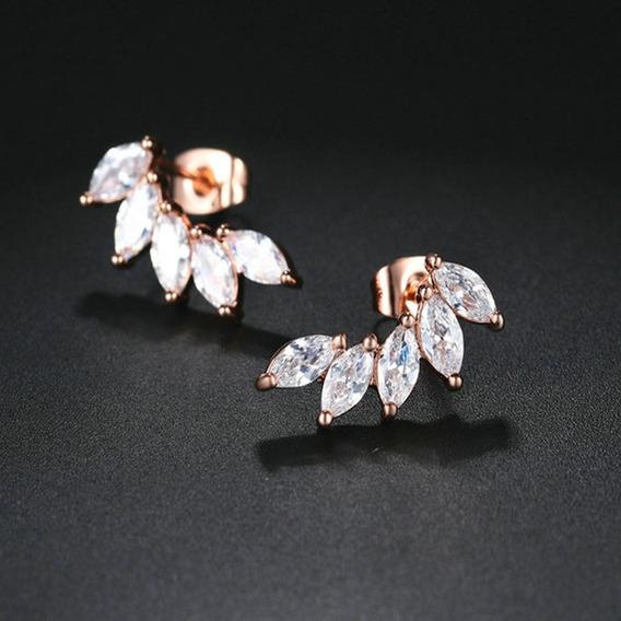 Brinco Feminino Rosê Gold Ear Cuff Zircônias 15 Anos C593