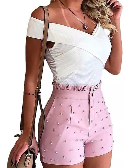 Body Cruzado Canelado Ombro Ciganinha Feminino Verão 2019