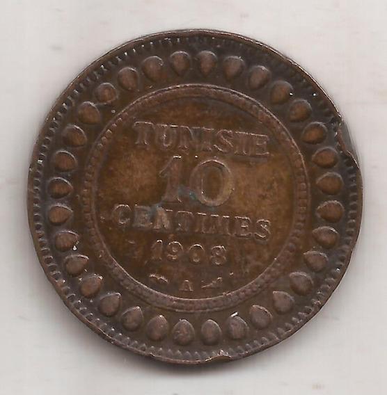 Tunez Moneda De 10 Centimes Año 1908