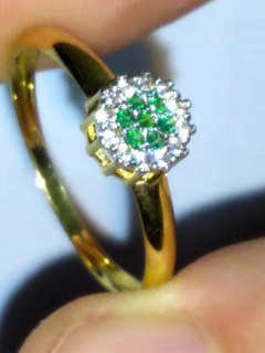 Aro 22 Chuveiro Ouro Amarelo 18k Esmeralda E Diamantes
