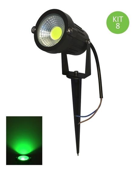 Espeto Led 3w Cob Luminária Projetor Jardim Verde Kit 8