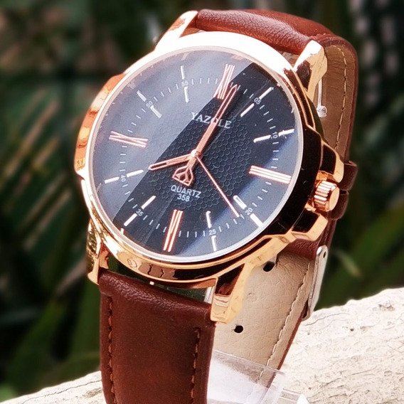 Relógios Masculinos Luxo Yazole Social Pulseira Couro N4