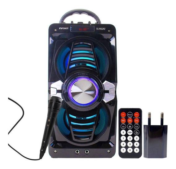 Caixa Som Bluetooth Potente Portátil C/ Microfone E Controle