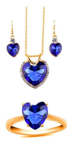 Anillo Oro Sólido 10k Corazón Azul Zafiro Con Collar Aretes