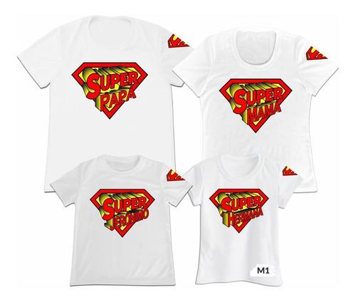 Camiseta Set 4 Familia Papa Mama Hijo Superman Super Man