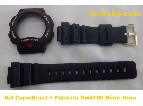 Kit Capa Pulseira G-shock Dw-6100 Thermometer Compatível