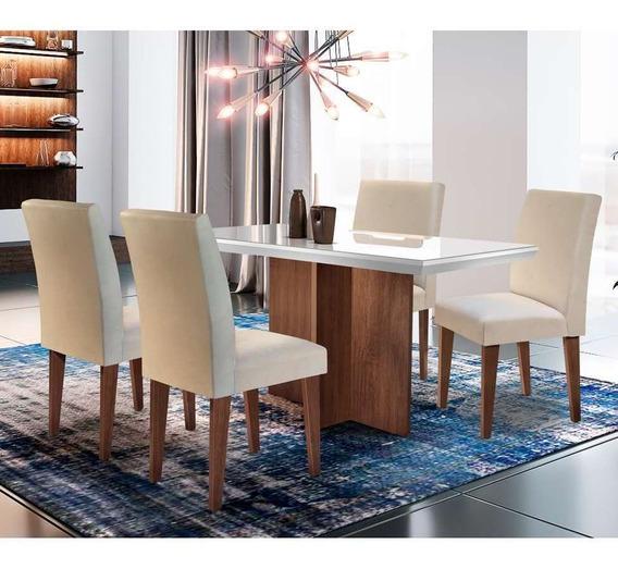 Conjunto De Mesa De Jantar Berlim Off White Com 4 Cadeira...
