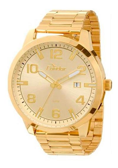 Relógio Unissex Dourado Marrom Troca Pulseira Condor