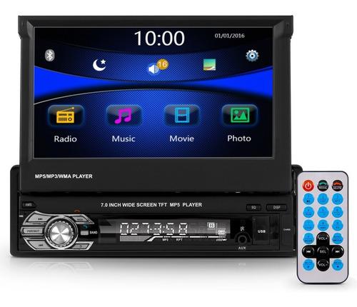 Mp5 Central Multimidia 7 Pol Radio Bluetooth 1 Din Retratil