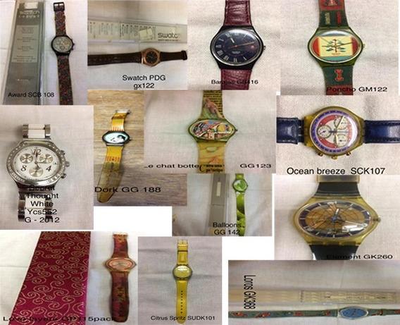 Lote De 13 Relógios Swatch - Fabric. De 1992 A 2012-usados - Pulseiras Ressecadas P/tempo, No Estado Em Que Se Encontram