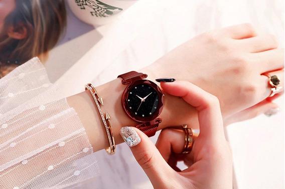 Relógio Céu Estrelado Pulseira Magnética Aço Inox Promoção