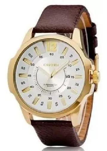Relógio Masculino Curren Analógico 8123 Gold Couro Marrom