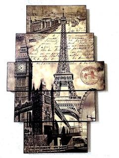 Cuadro Torre Eiffel 5 Piezas 85x55 Cms Decora Tu Espacio