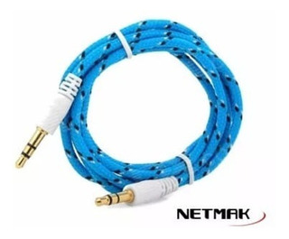 Cable Miniplug 3,5mm A 3,5mm Ref 1mt Blue Netmak La Plata