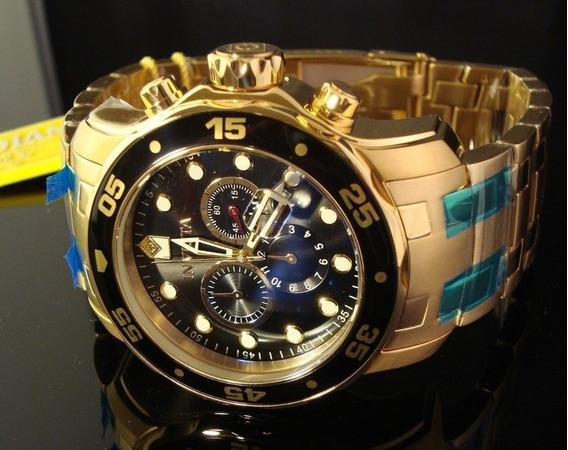 Invicta Homens 0072 Pro Diver Banhado A Ouro 18k Original!