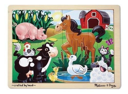 Melissa  Doug On The Farm Puzzle De Madera Con Bandeja De Al
