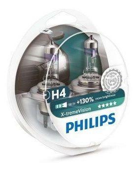 Lâmpada Farol H4 Philips X-treme Vision 130% + Luz 60/55w