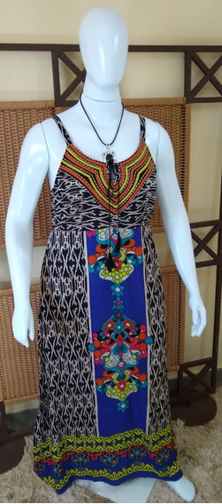 Vestido Longo Bordado/ Moda Indiana / Plus C334