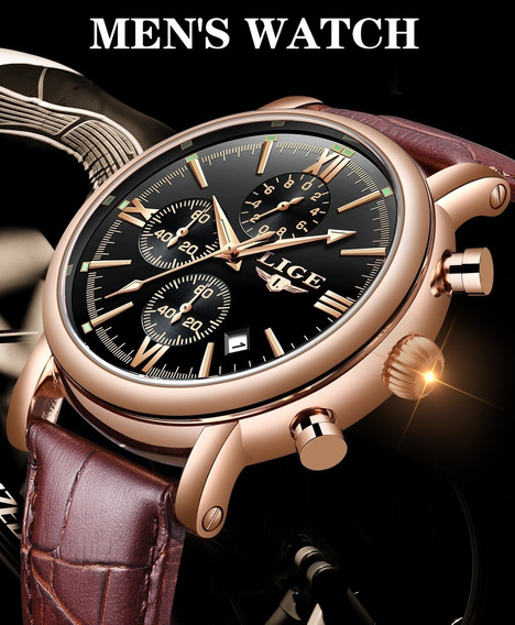 Promoção Relógio Couro Lige 9958 Homens Negócio F_ Grátis