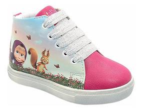 Tênis Infantil Menina Feminino Cano Alto Masha E O Urso Pink